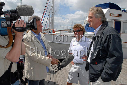 LepTrans08-0329   ICAPLeopard beats the TransAtlantic Record for sailing vessels (with powered winches) held by Phocea.Owner Mike Slase and skipper Chris Sherlock are interviewed on arrivian in Ocean Village Southampton.Starting off Ambrose Light, New York, at 00:01 GMT on Tuesday 27 May, ICAP Leopard completed the 2,925 nautical mile crossing in 7 days, 19 hours and 21 minutes(unofficial)